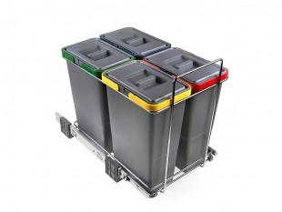 Ausziehbarer Müllsortierer 4 Körbe 32l Elletipi