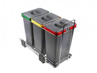 Ausziehbarer Müllsortierer 3 Körbe 24l Elletipi