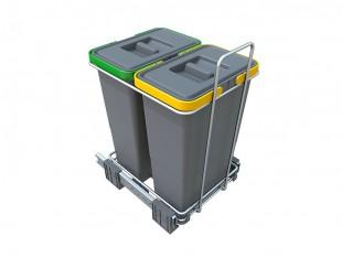Ausziehbarer Müllsortierer 2 Körbe 16l Elletipi