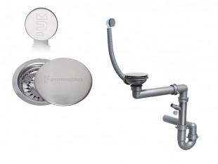 Der klassische Raumsparsiphon für Spüle mit verstecktem Überlauf + Abflussdeckel aus Edelstahl