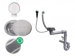 Der automatische Raumsparsiphon für Spüle mit verstecktem Überlauf + Abflussdeckel aus Edelstahl