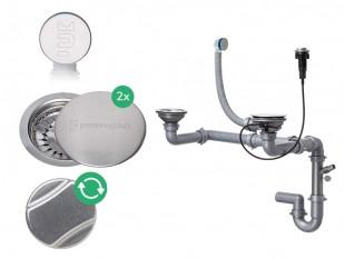 Der automatische Raumsparsiphon für Doppelspüle mit verstecktem Überlauf + Zwei Abflussdeckel aus Edelstahl