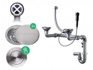 Der automatische Pop-up Raumsparsiphon für Doppelspüle + Abflussdeckel aus Edelstahl