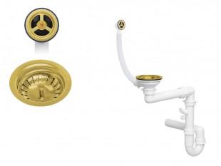 Der klassische goldener Raumsparsiphon für Spüle